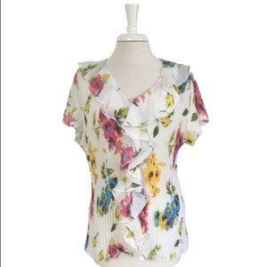 CATO Multicolor Floral Button Down Blouse 18/20W